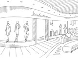 Shopping mall graphic black white interior sketch illustration vector - 233116958