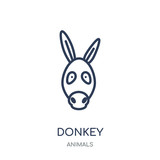 Donkey icon. Donkey linear symbol design from Animals collection.