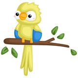 a vector of a cute parrot hanging on a branch