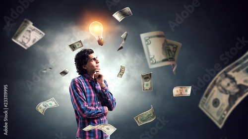 Leinwandbild Motiv Ideas for money making. Mixed media
