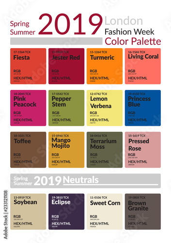 London Fashion Week Spring Summer 2019 Color Palette Colors Of The