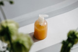 Organic scented soy candle on white. Loft interior decor, minimalism concept.  Closeup, copy space for text - 233122344