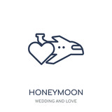 Honeymoon icon. Honeymoon linear symbol design from Wedding and love collection. - 233123316