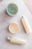 Spa cosmetics on white marble background from above. Beauty blogging concept. Copyspace - 233123576