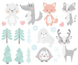 Reindeer, raccoon, seal, wolf, penguin, bear, fox baby winter set.