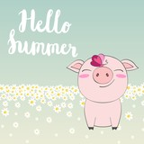 Vector cute summer illustration with pig and butterfly.