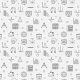 STEM education vector minimal outline seamless pattern or background - 233142923