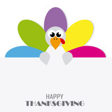 Thanksgiving day card. abstract and colorful turkey