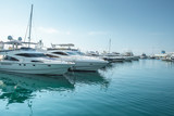 small boats and yachts are in the berth of the seaport of Sochi on the Black sea bright sunny summer day - 233148137