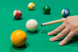 Billiard balls on pool green table - 233151903