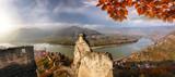 Panorama of Duernstein village with castle during autumn in Austria - 233152107