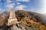 Panorama of Duernstein village with castle during autumn in Austria - 233152362