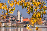 Krems town with Danube river during autumn in Austria - 233152740