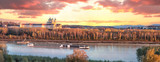 Panorama of Melk abbey with Danube river and autumn forest - 233152918