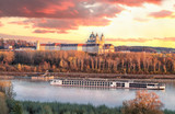 Panorama of Melk abbey with Danube river and autumn forest - 233152948