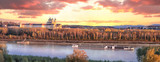 Panorama of Melk abbey with Danube river and autumn forest - 233152990