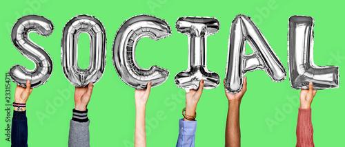 Leinwandbild Motiv Gray silver alphabet helium balloons forming the text social
