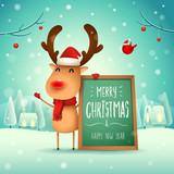 Merry Christmas! The red-nosed reindeer with message board in Christmas snow scene winter landscape. - 233157595