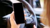 Phone in car. Mockup screen app. Travel map
