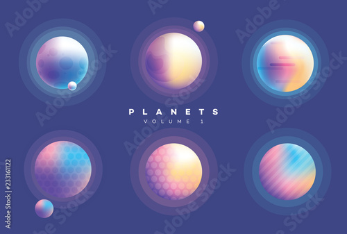 Futuristic abstract planets collection in vibrant colors  © Diana Hlevnjak