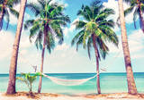 Beautiful beach. View of nice tropical beach with palms around. Holiday and vacation concept.  Tropical beach. Beautiful tropical island in Thailand. - 233162726