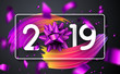 Happy New Year 2019 poster with bow, colorful brush stroke design and confetti.