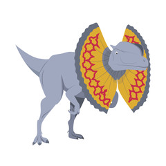 Dilophosaurus vector illustration isolated in white background. Dinosaurs Collection.