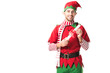 smiling man in christmas elf costume holding wishlist roll isolated on white