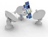 3d Satellite dish. Communiation 3d  rendered illustration - 233167700