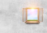 Window in wall. Mixed media - 233172768