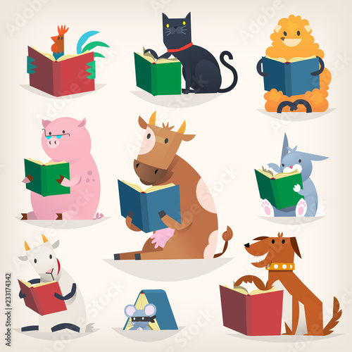 fototapeta na ścianę Animals reading books with stories and translating other languages. Trying to understand others.