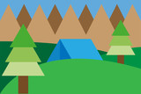 Paisaje montañoso con pinos. - 233175151