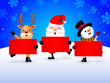 Happy Snowman, Santa Claus and Reindeer holding blank advertisement banner background. Christmas theme concept. Illustration.