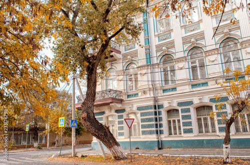Poster View of a tree with a curved trunk near the beautiful ancient house with a balcony in the autumn afternoon.