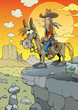 Wild west hero, cowboy riding horse at sunset - 233180399