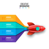 Vector rocket infographic. Business concept with 4 options, parts, steps or processes. Startup visualization. - 233184331