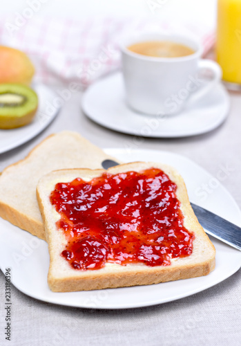 Poster Fresh toast bread or breakfast scene. Healthy fresh fruits and plate with toasts and jam.