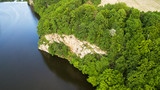 Aerial view of the rock that hangs over the river