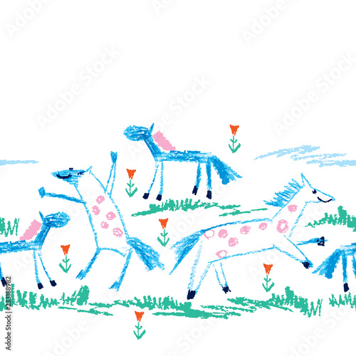 fototapeta na ścianę Vector seamless pattern with crayon children drawing of primitive blue horses, green grass and red flower on the white background. Kids hand drawn animal pattern in simple sketch style with horse.
