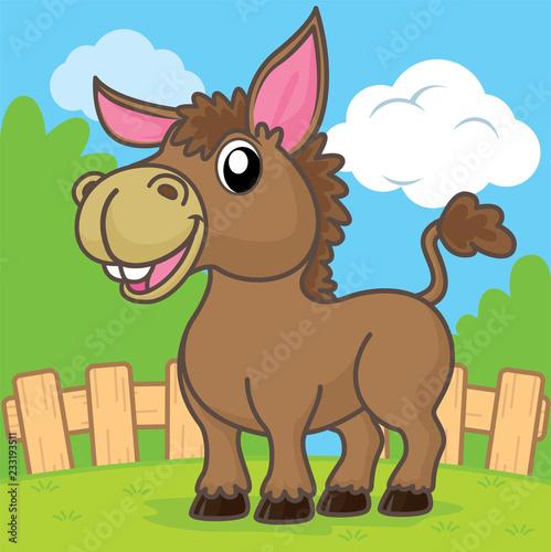 Donkey cartoon, cartoon cute, animal cute