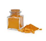 Turmeric powder and turmeric capsules on white background - 233193765
