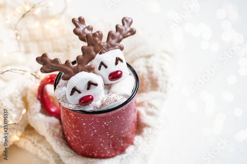 fototapeta na ścianę Hot chocolate with melted marshmallow reindeer