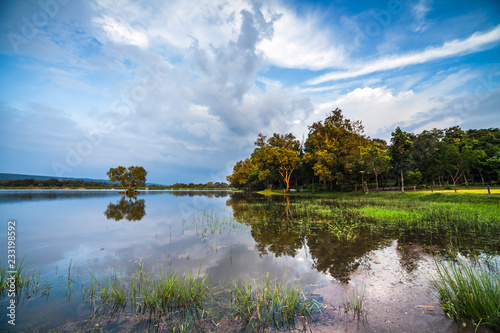 Blue sky and cloudy over river area. Serenity nature background.
