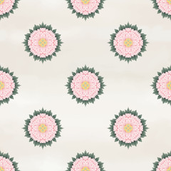 Seamless vector background with round peonies patterns. Illustration imitates traditional Chinese ink painting.