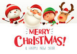 Merry Christmas! Happy Christmas companions with big signboard. - 233208718