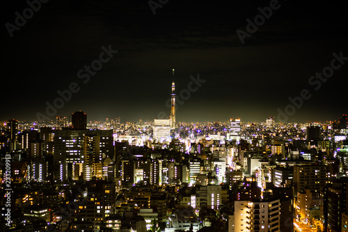 Tokyo night view with Tokyo Skytree on the background, shot from an observation deck in Bunkyo district