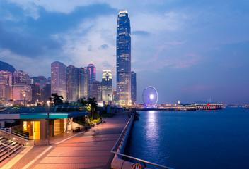 Hong Kong city skyline landmark at dusk.