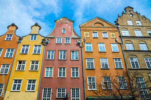 fototapeta na ścianę Facade of beautiful typical colorful buildings, Gdansk, Poland