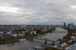 The view from the heights on the city skyline and the river main in Frankfurt