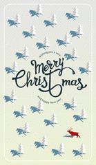 Wishing you a very Merry Christmas and Happy New year. Winter calligraphy and background. Vector illustration. © An Ha
